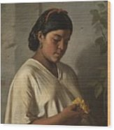 Indian Woman With Marigold Wood Print