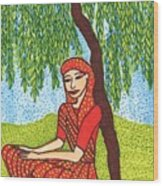 Indian Woman With Weeping Willow Wood Print
