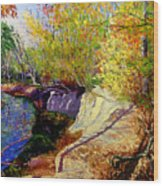 Indiana Creek Bank Wood Print