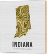 Indiana Map Art Abstract In Gold Yellow Wood Print