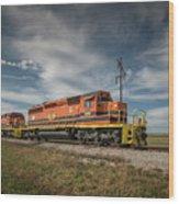Indiana Southern Railroad Locomotives At Edwardsport Indina Wood Print