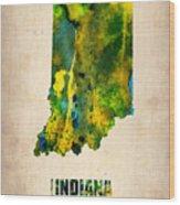 Indiana Watercolor Map Wood Print by Naxart Studio