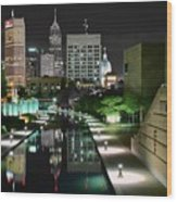 Indianapolis Canal Night View Wood Print
