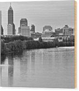 Indianapolis Charcoal Panoramic Wood Print