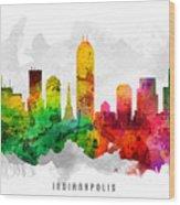 Indianapolis Indiana Cityscape 12 Wood Print