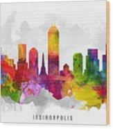 Indianapolis Indiana Cityscape 13 Wood Print