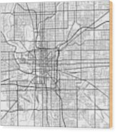 Indianapolis Indiana Usa Light Map Wood Print