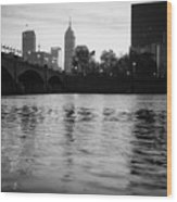 Indianapolis On The Water - Black And White Skyline Wood Print