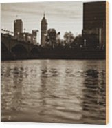 Indianapolis On The Water - Sepia Skyline Wood Print