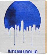 Indianapolis Skyline Blue Wood Print