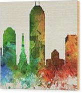 Indianapolis Skyline Panorama Usinin-pa03 Wood Print