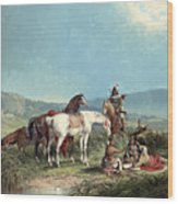 Indians Playing Cards Wood Print