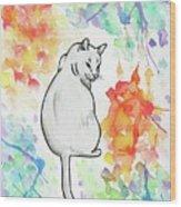Indifferent Cat Wood Print