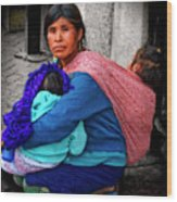 Indigenous Woman And Children Of Mexico Wood Print