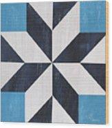 Indigo And Blue Quilt Wood Print