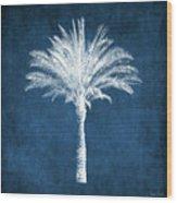 Indigo and White Palm Tree- Art by Linda Woods Wood Print