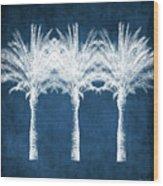 Indigo And White Palm Trees- Art By Linda Woods Wood Print