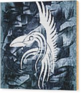 Indigo Bird Flight Contemporary Wood Print