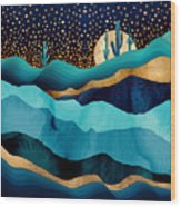 Indigo Desert Night Wood Print