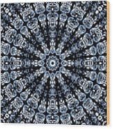 Indigo Flow Blue Kaleidoscope Wood Print