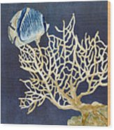 Indigo Ocean - Tan Fan Coral N Angelfish Wood Print