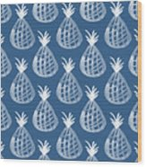 Indigo Pineapple Party Wood Print
