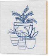 Indigo Potted Succulents- Art By Linda Woods Wood Print