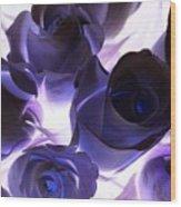 Indigo Roses Wood Print