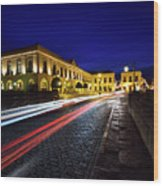 Indigo Sky And Car Lights Over Plaza Espana And Puente Nuevo Bri Wood Print