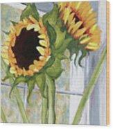 Indoor Sunflowers II Wood Print by Trina Teele