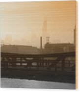 Industrial Foggy Chicago Skyline Wood Print