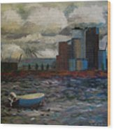 Industrial Fishing Wood Print