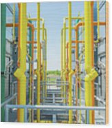 Industrial Piping Wood Print