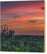 Industrial Sunset Wood Print