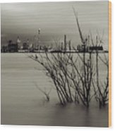 Industry On The Mississippi River, In Monochrome Wood Print