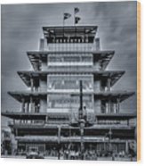 Indy 500 Pagoda - Black And White Wood Print