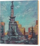 Indy Circle- Day Wood Print by Donna Shortt