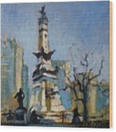 Indy Circle Monument Wood Print by Donna Shortt