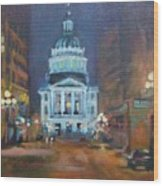 Indy Government Night Wood Print