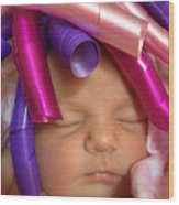 Infant With Ribbon Curls Wood Print