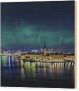 Infinite Aurora Over Stockholm Wood Print