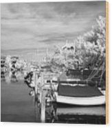 Infrared Boats At Lbi Bw Wood Print