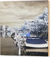Infrared Boats At Lbi Wood Print by John Rizzuto