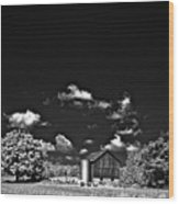 Infrared Farm Wood Print