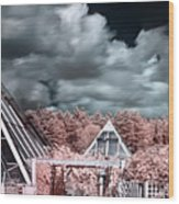 Infrared Glass Pyramids Panorama Wood Print