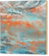 Infused Energy- Turquoise And Orange Art Wood Print