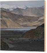 Initial Vision Of Pangong Lake Wood Print