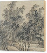 Ink Painting Landscape Bamboo Forest Rivers Wood Print
