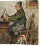 Innkeeper With A Cat Wood Print