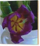 Inside A Purple Tulip Wood Print
